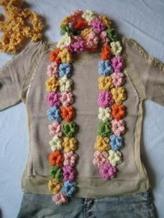 Multicolor Crocheted Flowers Scarf by happyspace on Etsy