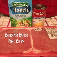 Crockpot Ranch Pork Chops - i used frozen. i forgot to defrost night before and I use 2 cans of soup and 1 can of water and cooked for 6-8 hrs on low since they were frozen and i wasn't going to be home 6 hrs. They just fell apart and super tender. Cooking Boneless Pork Chops, Crockpot Meals Pork Chops, Pork Chop Recipes, Pork Roast, Crockpot Recipes, Cooking Recipes, Chops Recipe, 3 Ingredients, Instapot Pork Chops