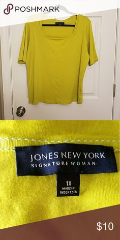 Chartreuse Square Neck Top Only worn a couple of times, still in like new condition. The square neck and elongated sleeve jazz up this solid tee. 100% cotton Jones New York Tops Tees - Short Sleeve