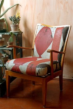 Painted upholstered vintage chair