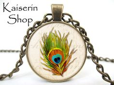 Feather Necklace Bird Neckkace Pendant Charm by KaiserinShop