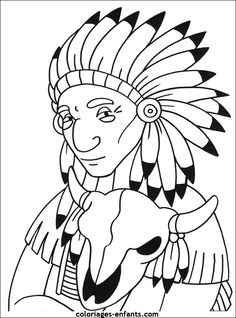 Les coloriages d'indiens Coloring Sheets, Coloring Books, Coloring Pages, American Indians, Native American, Rodeo Birthday, Cowboys And Indians, Wood Burning Art, Gif Animé