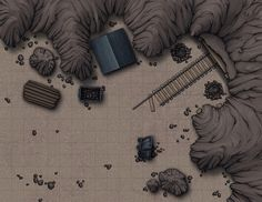 Here is a mine entrance battle map I've developed for the Lower Mines, a location from our Dureban Foothills province. Full resolution variations available on our website here! Community Library, Dungeon Maps, Minecraft Designs, Map Art, Dungeons And Dragons, Paper Dolls, Animal Crossing, Overlays, Fantasy Art