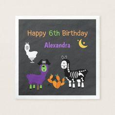 Halloween Birthday Party | Llama Napkin #halloween #kids #party #costume #birthday Halloween Cans, Halloween Birthday, Birthday Diy, Halloween Costumes For Kids, Costume Birthday Parties, Birthday Party Themes, Birthday Invitations, Happy 6th Birthday, Llama Birthday