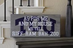 Items similar to by TCU wood sign, As for me and my house we yell Riff Ram Bah Zoo on Etsy Shes Like Texas, Purple Reign, All Things Purple, Wooden Signs, Diy Gifts, Crafty, Frog Life, Materialistic, Southern Comfort