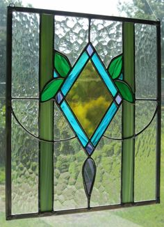 Traditional Victorian Stained Glass Panel. $125.00, via Etsy.