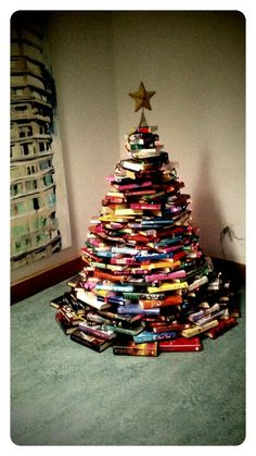 Christmas Book Tree In Blessington Library Ireland. Created By My Very Own  Mumsie :)
