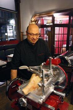 Ancienne trancheuse a main manuelle jambon boucher - Restaurant la table du boucher lille ...