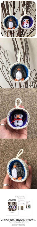 Christmas Bauble Ornaments, Snowman & Penguin crochet pattern