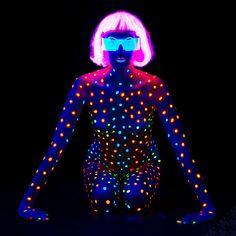 model: Aneta body-painting & photo: me glasses - Pinx acknowledgements: Pinx more Black Light Aneta 8368 Light Painting, Body Painting, Photos Corps, Neon Girl, Light Shoot, Glow Paint, Stage Set Design, Neon Party, Afraid Of The Dark