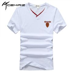 ACEMIRIZ  Pure Color Short Sleeve T-shirt for Men 2017 High Quality New V-Neck Solid Men's Summer Slim Men's T-shirt 2124 #Affiliate