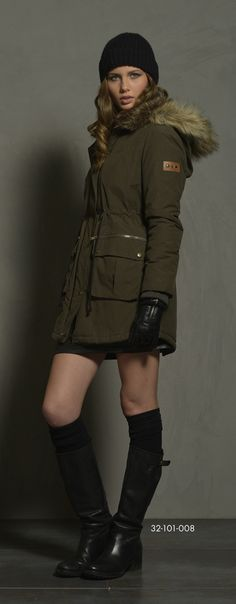 Ladies' jacket with detachable hood & fake fur around hood & fake fur quality inside collar. www.biston.gr