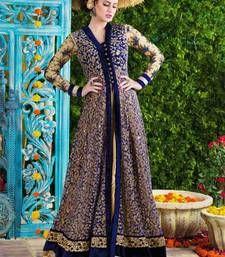 BLUE embroidered net semi stitched salwar with dupatta Shop Online