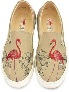 Beige & Pink Flamingo Slip-On Sneaker #ad #flamingos #shoes #flamingoshoes