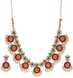 Buy Zaveri Pearls Gold Tone Traditional Temple Choker Necklace Set For Women-ZPFK8983 at Amazon.in Pearl Necklace Designs, Pearl Necklace Set, Indian Necklace, Indian Jewelry, Women's Jewelry Sets, Bridal Jewelry Sets, Women Jewelry, Gold Choker, Pearl Choker
