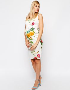 Image 4 of ASOS Maternity Body-Conscious Dress In Floral Print With Sweetheart Neck