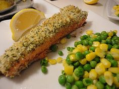 Panko-Crusted Salmon - yum! Check out the recipe on my food blog and give it a try at home to enter my contest/giveaway! http://inthekitchenwithkatiegriffin.blogspot.com/