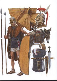 Republican Rome triarius - triarii  1. paenula 2. Etrusco-Corinthian helmet 3. long, iron mail shirt 4. hasta 5. gladius 6. pugio