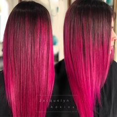 Women Pink Wigs Lace Front Hair Pink Shoulder Length Hair Half Pink Half White Hair Pink Hair With Roots – chiveral Dark Pink Hair, Bright Pink Hair, Pink Ombre Hair, Hot Pink Hair, Pink Wig, Hair Color Pink, White Hair, Bright Coloured Hair, Ombré Hair