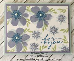 Stampin Up Blooms and Wishes stamp set. new stampin up catalog. Kim Williams, pink pineapple paper crafts blog. Stampin with kjoyink. Stampin up demonstrator card ideas. Quick and easy cards. Simple cards, stamping 101. Flower stamps