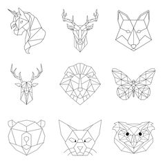 animal linear rawpixel geometric drawing string shapes animals shape easy drawings lion premium patterns illustrations wall line tattoos