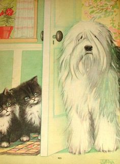 Page From Vintage Linen Kittens and Puppies Book