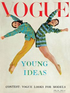 Vogue cover April 1959 EDITOR Audrey Withers   COVER Norman Parkinson   MODELS Georgina Parkinson and Hylda Zinkin