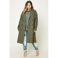 Forever21 Plus Size Longline Trench Coat ($33) ❤ liked on Polyvore featuring plus size women's fashion, plus size clothing, plus size outerwear, plus size coats, olive, leather-sleeve coats, plus size double breasted coat, army green coat, olive trench coat and olive green coat