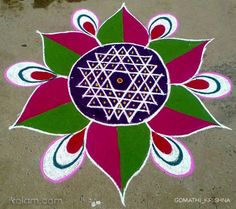 Tamil new year kolam, by Gomathy. -ikolam.com