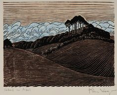 ✨ Klaus Wrage, German (1891-1984) - Abend am Abel, Berg am Dieksee, Farbholzschnitt, 20 x 25,7 cm ::: Evening at Abel hill near Dieksee, colour woodcut