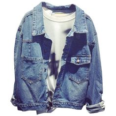 Plaid&Plain Women's Oversize Cowboy BF Lapel Jean Jacket Outwear (€19) ❤ liked on Polyvore featuring outerwear, jackets, tops, cowboy denim jacket, denim jacket, tartan jacket, blue denim jacket and western jackets