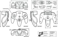 """J Paricio """"Orthographic drawing of nintendo controller"""" October CAD Drawing Nintendo 64, Nintendo Controller, 3d Drawings, Drawing Sketches, Drawing Ideas, Autocad, Orthographic Drawing, Orthographic Projection, 3d Drawing Techniques"""