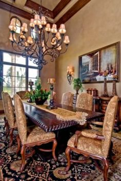 If you are having difficulty making a decision about a home decorating theme, tuscan style is a great home decorating idea. Many homeowners are attracted to the tuscan style because it combines sub… Tuscan Dining Rooms, Elegant Dining Room, Luxury Dining Room, Beautiful Dining Rooms, Dining Room Design, Dining Room Table, Dining Area, Tuscan Design, Tuscan Style