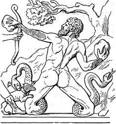 """AGRIOS (Αγριος, """"selvagem""""). As Moirai golpearam-no com maças de bronze até matá-lo."""