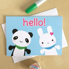 Hello Bunny and Panda - Super Cute Kawaii card (2.00 GBP)