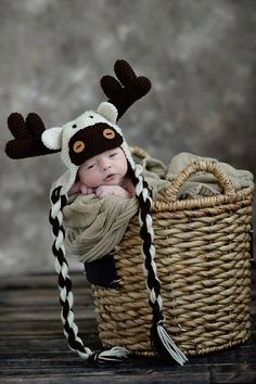 Baby Moose Animal Hat with antlers and twisted ties brown tan beige ecru Halloween costume ears eyes cap beanie flaps baby child boy girl on Etsy, $30.00