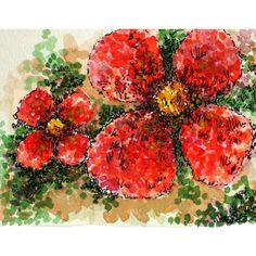"Red watercolor floral abstract original pen and ink 3 1/2"" x 10"" sfa... ($65) ❤ liked on Polyvore featuring home, home decor, wall art, red flower painting, flower home decor, flower wall art, green painting and red wall art"