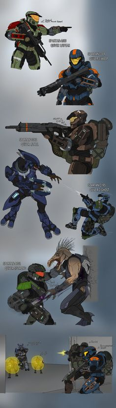 Been working on this page on and off, A more Pre-Halo event Fire Team Quiver. Needed to finally draw up all of Quiver in their Mark IV MJOLNIR they rece. Halo Ammunition Sketches Page 3 Halo Reach, Armadura Do Halo, Armor Concept, Concept Art, Odst Halo, Halo Drawings, Character Art, Character Design, Halo Armor
