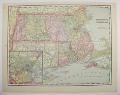 Vintage Map Massachusetts, Rhode Island Map 1894 Antique Map, New England State Map, Wedding Gift, Unique Birthday Gift for Home Décor available from OldMapsandPrints on Etsy