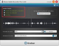 Renee Audio Recorder Pro es un grabador de audio muy fácil de usar para grabar sonidos gratis con su ordenador. La interfaz de usuario está en español. https://es.reneelab.com/grabador-de-audio.html