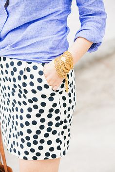 Dalmatian print skirt works well with a chambray shirt.
