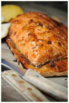 bbq salmon with apricot preserves, mustard and jalapeno Green Egg Recipes, Salmon Recipes, Fish Recipes, Seafood Recipes, Great Recipes, Chicken Recipes, Fish Dishes, Seafood Dishes, Fish And Seafood
