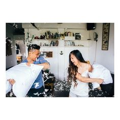 awesome vancouver wedding Who doesn't love a good pillow fight? #pillowfight, #pjs.. Feels right at home. #corydiana2015 Full blog post link in profile  #vancouverwedding #vancouverwedding