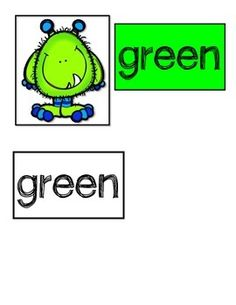 Color Words Kindergarten, Free Black, Black And White, Preschool Colors, File Folder, Color Card, Free Coloring, Monsters, Student