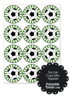 Green Sunburst Soccer Cupcake Toppers