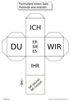 Un dado y otros más para aprender alemán jugando. Divertido para todas las edades.