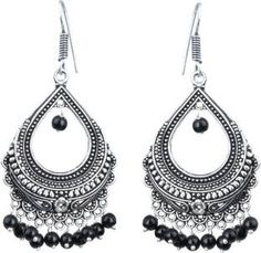 Waama Jewels Black silver Plated back Push Style for girls Office Wear Mothers Day Gift Pearl Brass Chandelier Earring