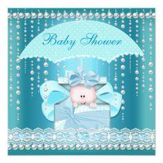 Baby Shower Boy Baby Blue Pearl Umbrella Invite