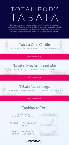 Yoga Fitness Plan - Total-Body Tabata — Get Ready to Torch and Tone - Get Your Sexiest. Body Ever!…Without crunches, cardio, or ever setting foot in a gym! Killer Workouts, Fun Workouts, At Home Workouts, Plyo Workouts, Body Workouts, Fitness Workouts, Zumba, Popsugar, Workout Posters