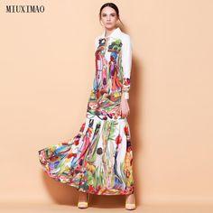 High Quality Newest Fashion Runway Turn Down Collar Maxi Dress Women s Long  Sleeve Retro Art Printed 8368d2010d07